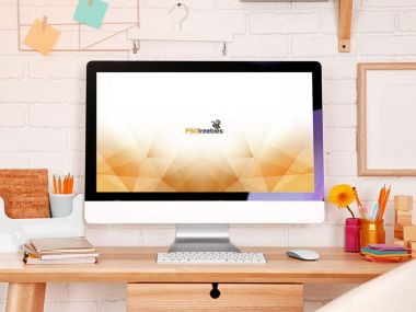 Feminine iMac Workstation Mockup