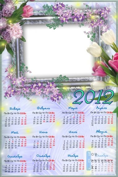 Calendar for photoshop for 2012 - Springtime tale of flowers