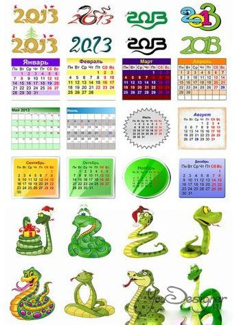 Set of graphical elements to create a calendar for the year 2013.