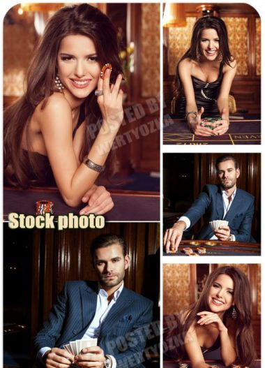 Casino, a man and a woman, gambling - stock photos