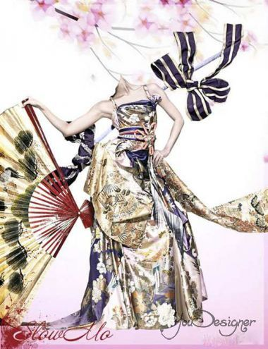 Female photomontage - Girl in Chinese kimono