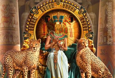 Photomontafe female - Egyptian Queen with two cheetahs