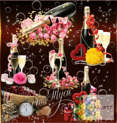 Clipart - Night of happiness, champagne and flowers - 2