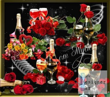 Clipart - Night of happiness, champagne and flowers - 3