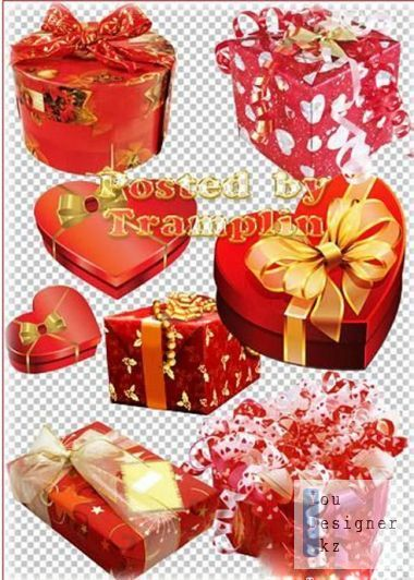Clipart - Gifts-to-day lovers with hearts, tinsel, ribbons