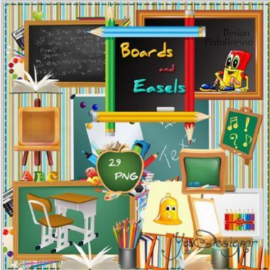 Clipart in PNG - blackboards, easels
