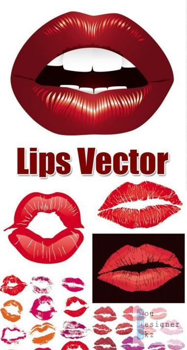Vector clipart - woman's lips, lips, kisses, with помадойLips Vector