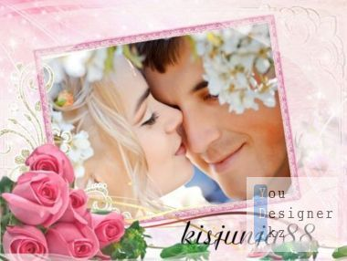 Beautiful frame for photoshop - Tender roses of love