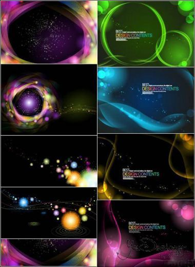 Dark backgrounds with colored glow