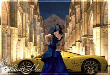 Montage - the Girl in blue dress on background of Lamborghini
