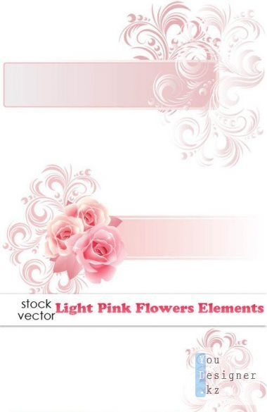 Vectors - Light Pink Flowers Elements