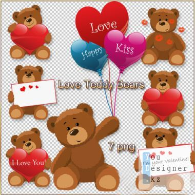 Valentine's Clipart PNG - Love Teddy Bears