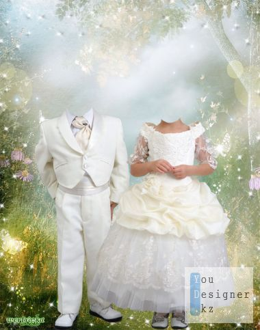 Photoontage - a Boy and a girl in a fairy tale