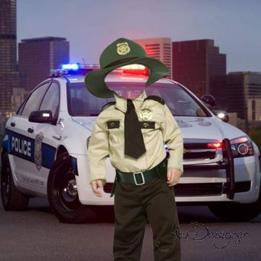 Template for photoshop - Little policeman