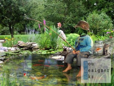 Children's template for the photomontage - Small fisherman