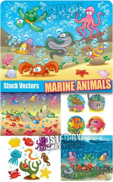 Marine animals - Vector clipart