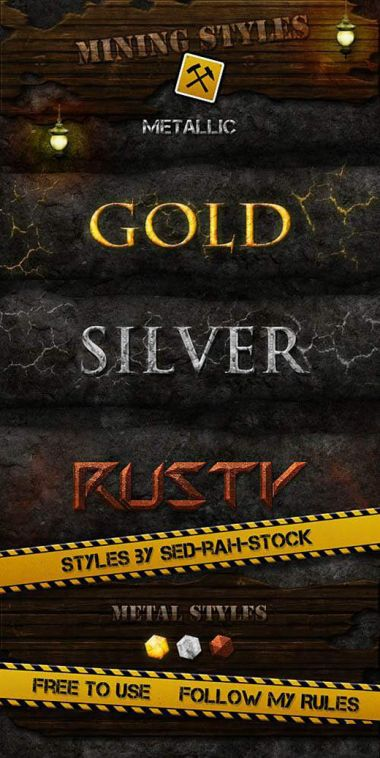 Metal Styles for Photoshop - Golden, Silver, Rusty
