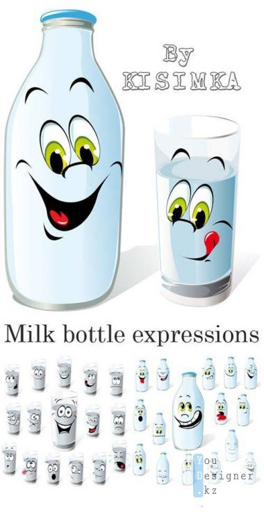 Stock: milk bottle with many expressions