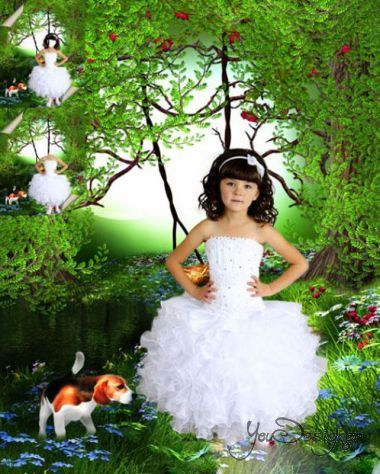 Multilayer children's psd template - the Girl in the white formal dress with a small dog