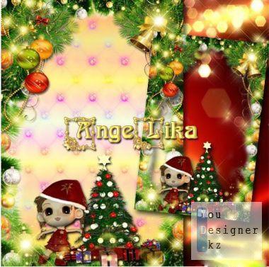 Новогодняя детская рамка - Весело, весело встретим Новый год / New year's children's frame - We will happily meet New year