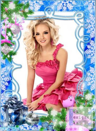 Новогодняя рамка для фото - Розовый дракончик и новогодние игрушки / Christmas frame for the photo - Pink dragon and new year toys
