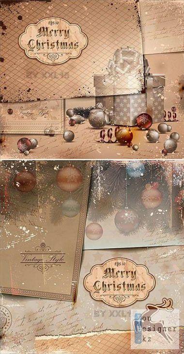 Винтажная бумага - Рождественские иллюстрации / Old papers Christmas illustrations