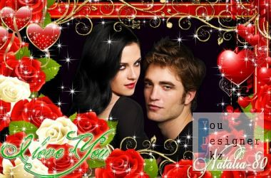 Festive frame-card for photos - beating hearts of lovers