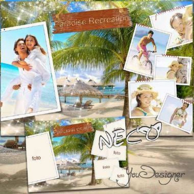 Photo frame collage with palm trees on the five photos -  Heavenly rest on the beach