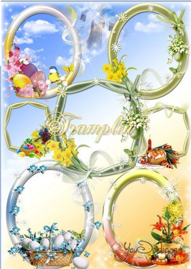 Easter frames on a transparent background - In the Spring day paints are so bright
