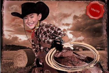 Template for photomontage - Cowboy