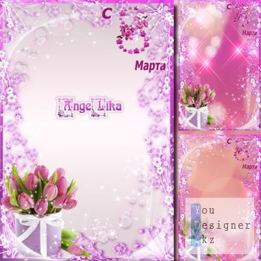 Woman's Frame on 8 March - Pink tulips