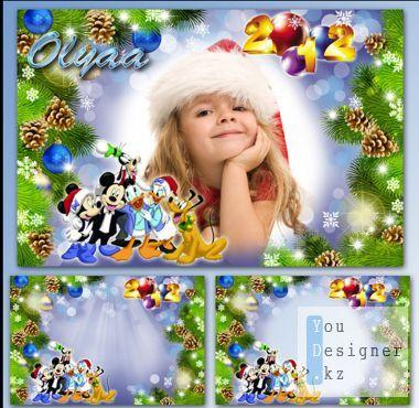 Праздничная детская рамка - Новый год с Микки и его друзьями / Festive children's frame - the New year with Mickey and his friends