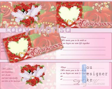Wedding invitation - Red roses