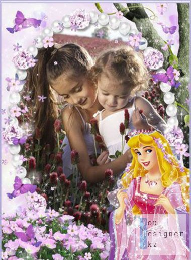 Baby photo frame - a walk with princess aurora