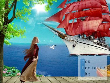 Psd source – Assol - a Scarlet sail, blue sky