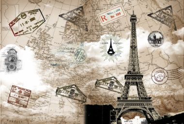 Retro PSD Templates - The Eiffel Tower and the travel