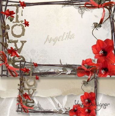 The frame for lovers - Red flowers-a symbol of love and passion