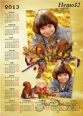 Frame - calendar for the year 2013 - Funny squirrel