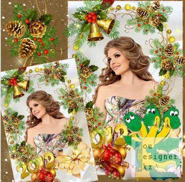 Рамочка для оформления праздничного фото – Новогодние колокольчики / Frame for decoration of festive photo - Christmas bells
