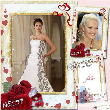 Wedding frame with a red roses - Our hearts