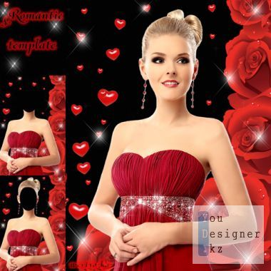 Romantic woman template - Girl and red roses