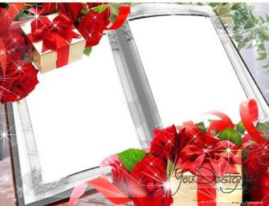 Romantic photo frame-Roses with a bow