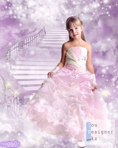 Child's template - Princess in a wonderful pink dress
