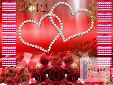 Calendar-photo frame to 2012 with red roses