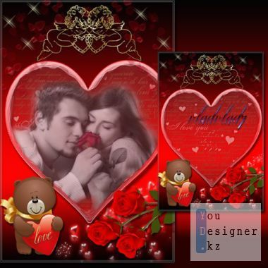 Romantic Photoframe with roses and Angels - Love