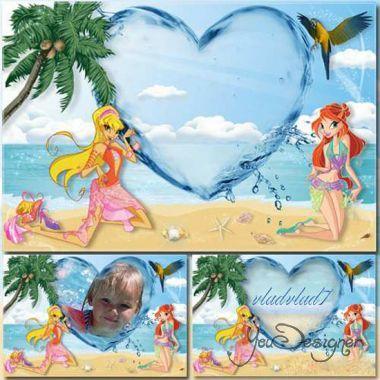 Детская рамка для - Винкс на пляже.