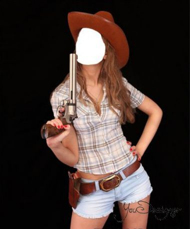 Template for photoshop - Girl in a hat and with a revolver