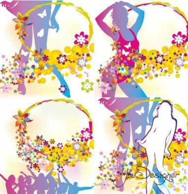 The silhouettes of the girls in bathing suits with flowers (Vector)