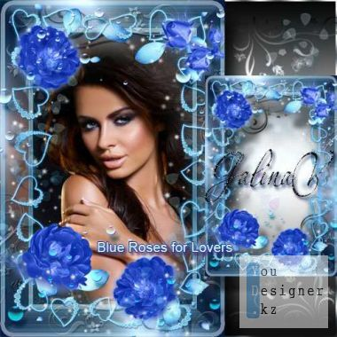 Glamorous frame to the Day of St. Valentina - Blue roses for lovers