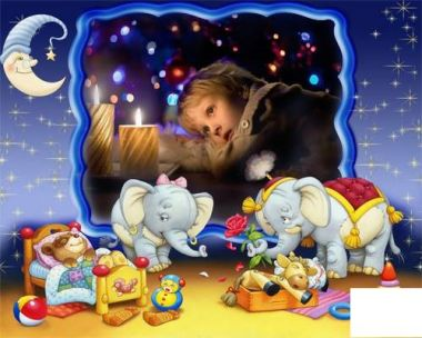 Children frame for photo - Tired toys sleep